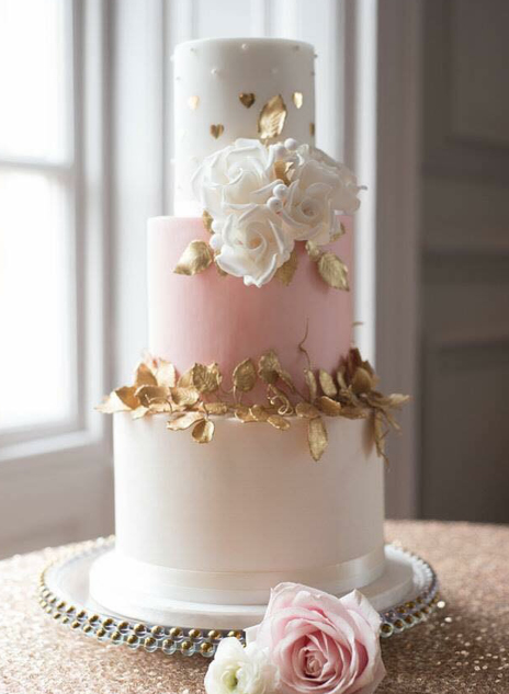 Wedding Cake - Pink and Gold - North Yorkshire